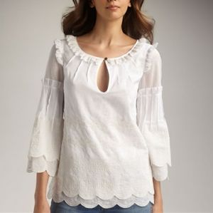 Tory Burch Chelsie Logo Embroidery Blouse